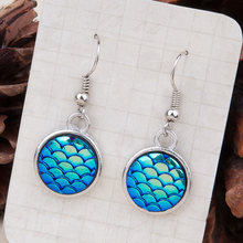Doreen Box Resin Mermaid Fish/ Dragon Scale Earrings Silver Tone Blue AB Color Round 34mm x 15mm,1 Pair 2017 new(China)