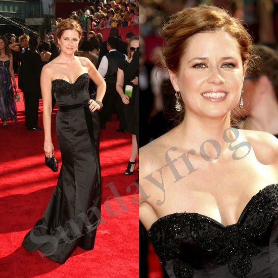 Jenna Fischer Emmys Red Carpet Celebrity Dresses Black Satin Sweetheart Gown  Beaded Evening Dresses Formal Gown a6b173d6dbce