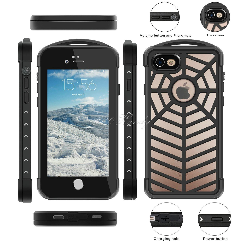 Цена за Heavy Duty Hybrid Dual ЖЕСТКИЙ РЕЗИНА PC Прочный чехол для iPhone 7 Роскошные противоударный водонепроницаемый паук защитная крышка