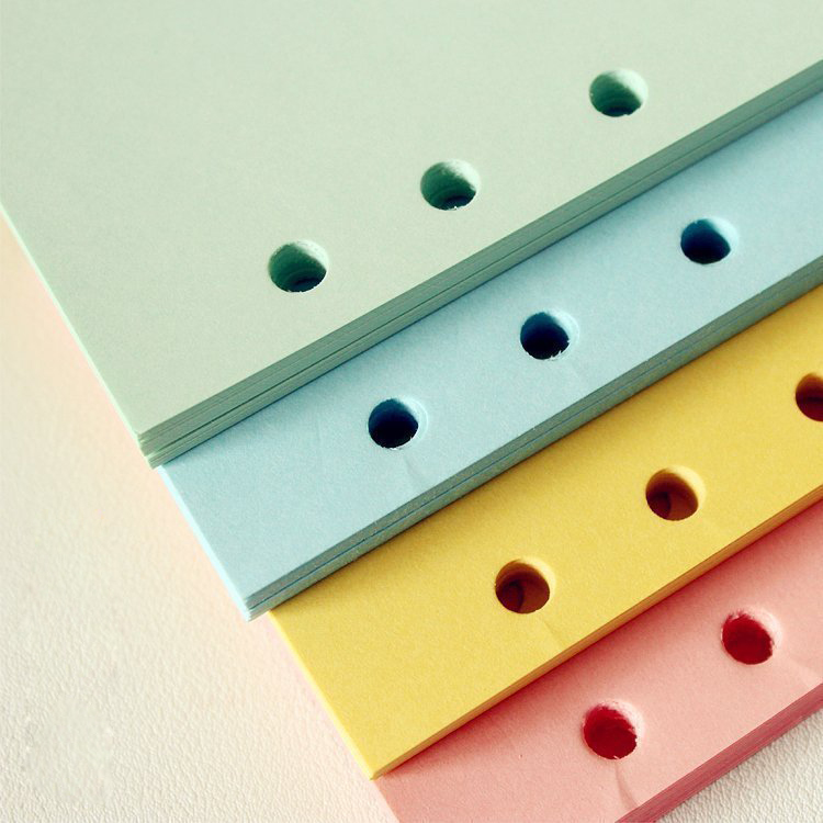 50 sheets Planner colorful paper. punched Paper A5, Loose leaf Diary Refills. mixed color mint/blue/yellow/pink/white