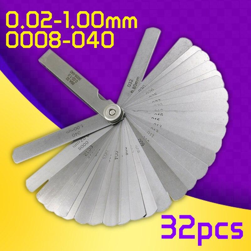 89A 0.02-1mm/0008-040 Newest 32 Blade Feeler Gauge Tune Up Thickness Set Blade +BRASS BLADE 20pcs sp016 brass hammered colorado blade size 3