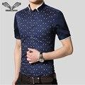 Los hombres visten camisas 2017 nueva llegada del verano elegante remiendo de la manga de negocios sólido clothing delgado masculino de algodón floral camisa 5xl n208