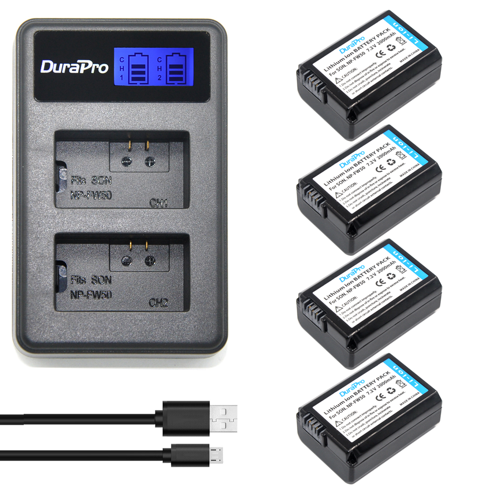 4x 2000mAh NP-FW50 NPFW50 NP FW50 BatteryAKKU&LCD USB Dual Charger For Sony Alpha a6500 a6300 a7 7R a7R a7R II a7II NEX-3 NEX-5T np fw50 npfw50 lithium batteries pack external power np fw50 digital dslr mobile power for sony nex 5 6 7 a55 a7r a7m2 a6500