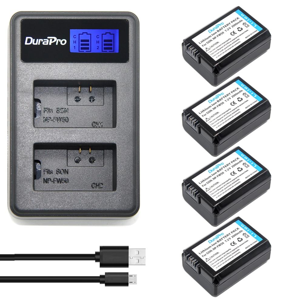 4x 2000mAh NP-FW50 NPFW50 NP FW50 BatteryAKKU&LCD USB Dual Charger For Sony Alpha a6500 a6300 a7 7R a7R a7R II a7II NEX-3 NEX-5T