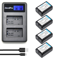 4Pcs 2000mAh NP FW50 NPFW50 NP FW50 Battery Batterie Bateria AKKU LCD USB Dual Charger For