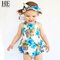Hello Enjoy baby girl clothes summer newborn Brand baby clothing girl infant clothing baby girl Blue band + shirt + panty 3pcs