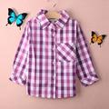 Moda outono crianças blusa camisa individualidade simples mangas compridas de boa qualidade clássico xadrez crianças camisa da menina blusa