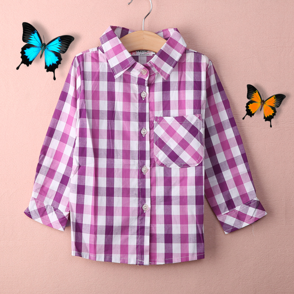 autumn fashion kids blouse shirt simple individuality long sleeves good quality classic plaid children girl shirt blouse