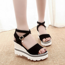 Summer Korean muffin fish head women sandals with platform sandals wild simple shoes shook with students in