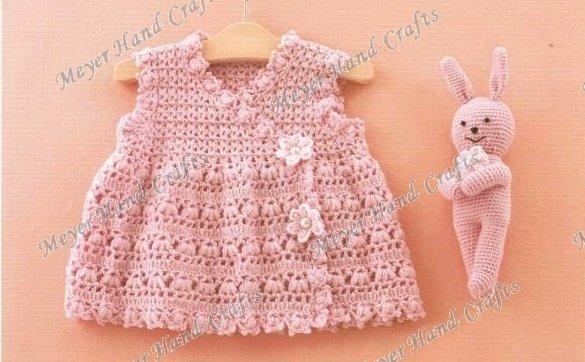 Mano única ganchillo rosa vestido del bebé del algodón en Vestidos ...