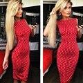 2016 Yifan Fashion Halter Pencil Dress Red Polka Dot Dress Sleeveless Casual Dresses Evening Party Dress Free Shipping