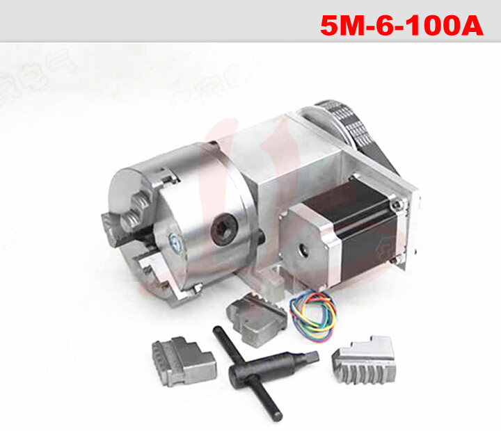 Rotation 6:1 A axis 5M-6-100A for Mini CNC router/engraver woodworking engraving machine rotary axis for 3020 CNC cnc 5 axis a aixs rotary axis three jaw chuck type for cnc router