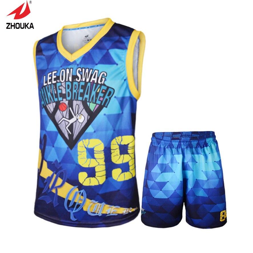 High quality hot sale custom Men's sleevele V neck full sublimation basketball jerseys-in ...