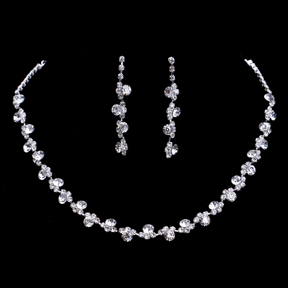 Silver Color Crystal Bridal Jewelry Sets Rhinestones Wedding Jewellery Set  Earring Necklace Set For Brides Fashion