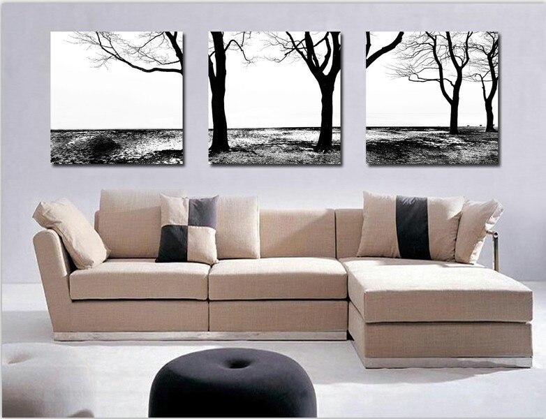100 Black White Abstract Art 3 Panel Canvas Art Framed Tree Wall