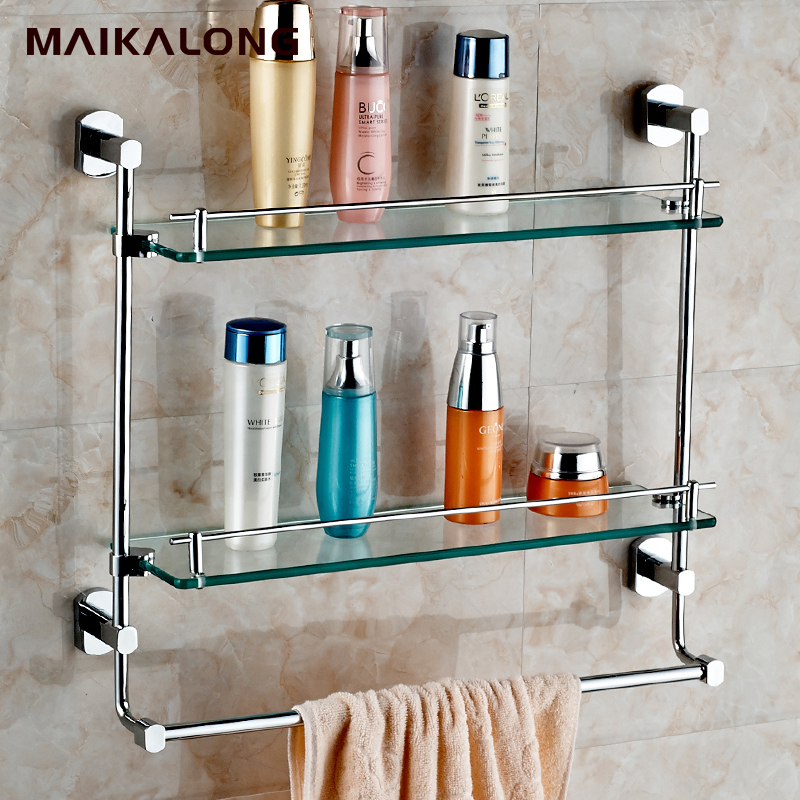 NO.6714 Bathroom Glass Shelf Wall Mount with Towel Bar and Rail ...