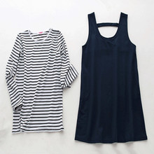 Spring Autumn Maternity Clothes Suit Pregnancy Dress Full Sleeve Striped Tshirt+Solid Casual Tank Vest Dress for Pregnant Women