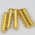 Fashion 5 Strands Gold Plated Silver Plated Slide Lock Clasps Tube Clasps 100pcs/lot DIY Jewelry Accessories Free Shipping JC014