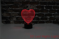 3D Vision Illusion Sweet Heart Artware Led Night Lights with FCC and RoHS Certificate YJM 2910