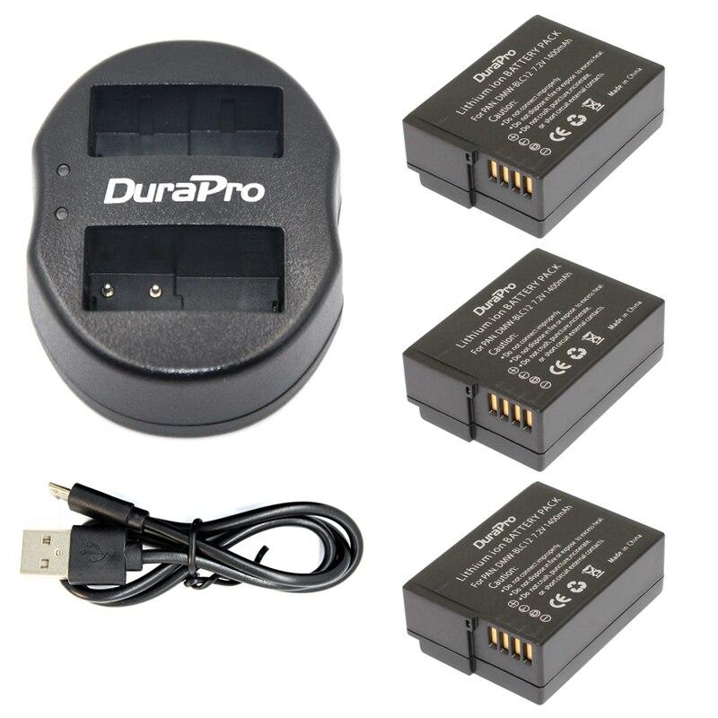 3pc DMW-BLC12 DMW-BLC12E DMW BLC12 Rechargeable Li-ion Battery + USB Dual Charger for Panasonic FZ1000 FZ200 FZ300 G5 G6 G7 GH2 rechargeable 1500mah 3 7v 26650 li ion battery brown
