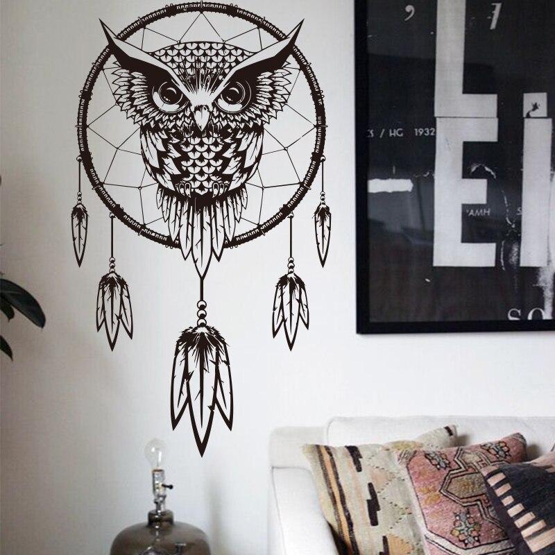 2016 Art Design Indian Dream Catcher Decor Diy Wall Sticker Owl Decals Vinyl Murals Stickers
