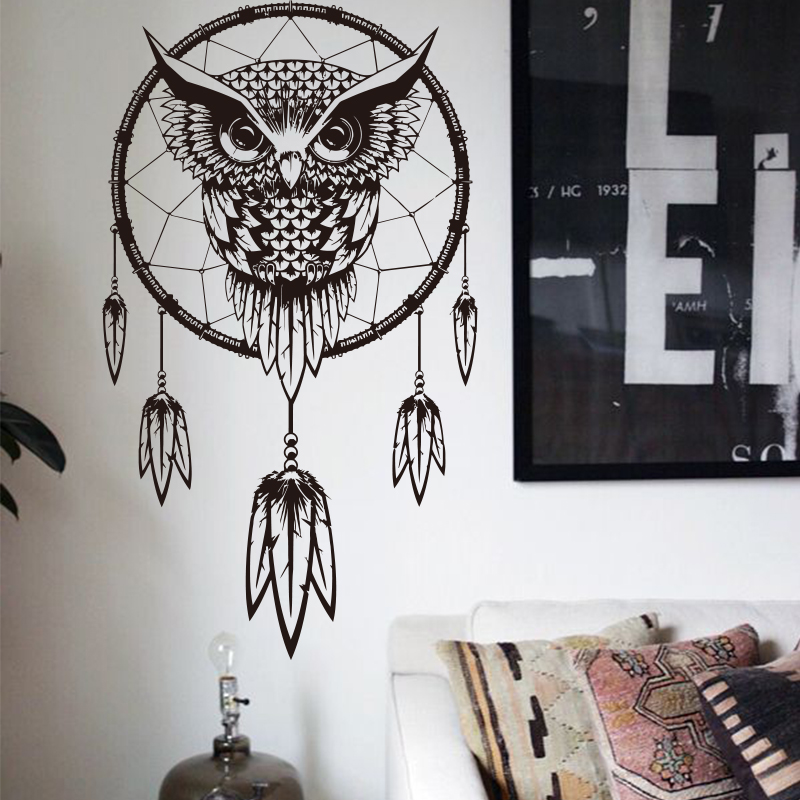 Art Design Indian Dream Catcher Decor DIY muursticker Uil Decals Vinyl muurschilderingen Stickers Dierlijke muur Papier woondecoratie