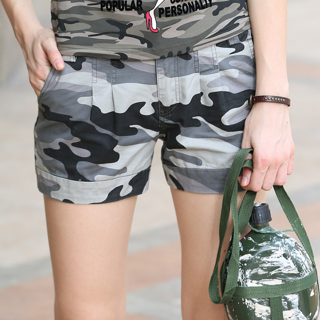 Free Army Brand Shorts Vintage Women Shorts Cotton Casual Loose Shorts Military Camouflage Girls Camo Shorts Gk-9326B