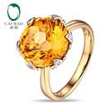 Бесплатная доставка 12 мм круглого сечения 7.21ct природный цитрин 14 К золота и природных бриллиантовое обручальное кольцо