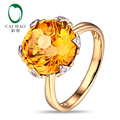 Envío gratis 12 mm corte redondo 7.21ct citrino Natural 14 k oro y diamantes naturales anillo de compromiso