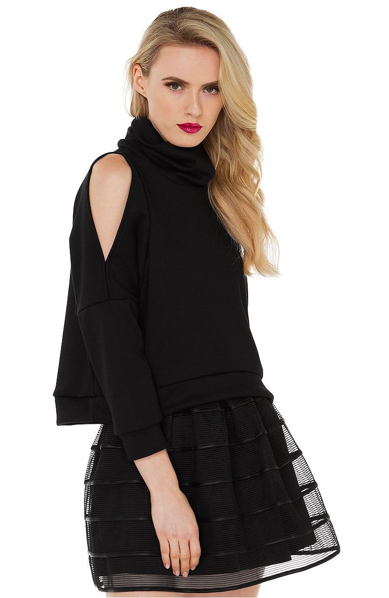 Aescondo 2017 Spring Woman Heaps Collar Off Shoulder Short Sweatshirt Female Funnel Neck Three Quarter Sleeve Crop Sweat Suits
