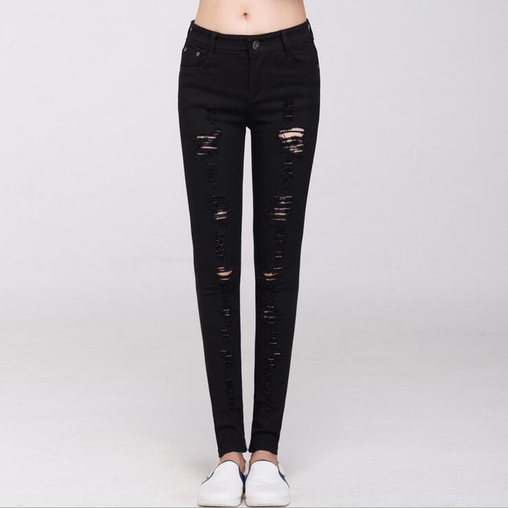 #3218 Spring summer 2016 jeans strappati donna White / black ripped jeans Slim Ladies ripped jeans Pantalon femme Vaqueros mujer