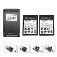 High Capacity 2x 3500mah Cell Phone Battery USB Wall Charger For Samsung Galaxy Note 2 II