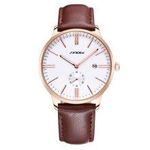 Mens relojes de primeras marcas de lujo Sinobi marca moda de lujo de cuero para hombre de cuarzo reloj hombre de negocios relojes Relogios Masculino