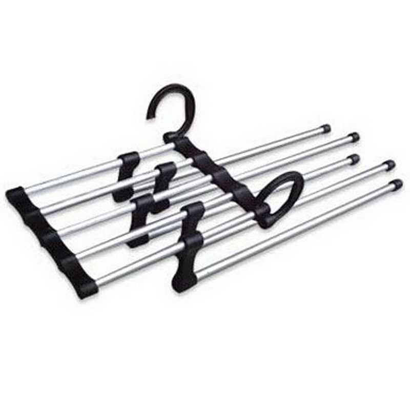 Elegant LASPERAL Stainless Steel Multifunction Retractable Rack Trouser Hanger Hook  Type Clothes Organizer Pants Holder 47.5x15x7cm