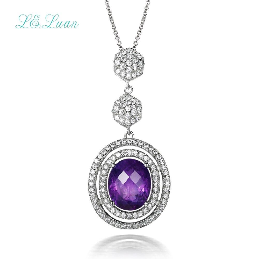 925 sterling silver natrual 4.71ct amethyst pendant purple quartz necklace with silver chain Romantic fashion wedding chain