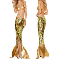 Free Shipping New Design Hot Sell Halloween princess sexy adult Gold mermaid Princess Ladies Long Cosplay Party costume women