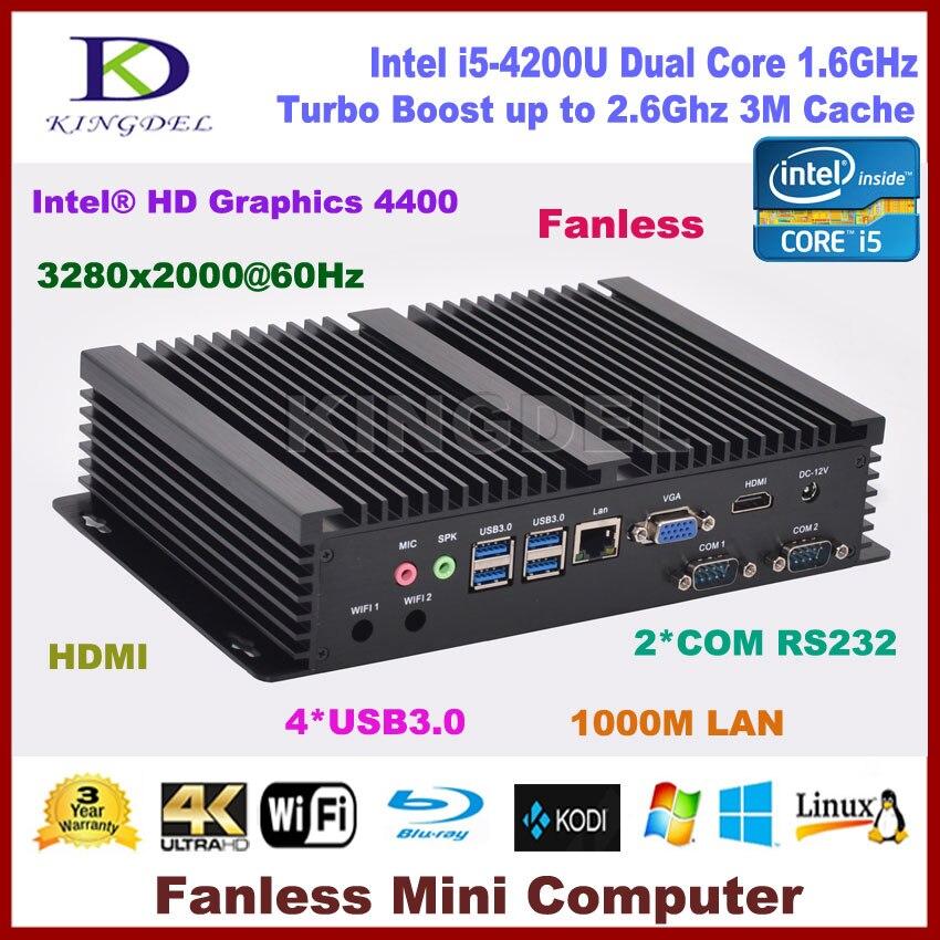 2017 New Arrived Fanless Core I5 4200U Dual Core Mini Pc Computer 2*RS232,VGA, HDMI,USB 3.0,300M WIFI, 3D Game Support,HTPC