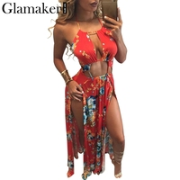 Glamaker Backless Floral Summer Dress Women Sexy High Slit Halter Long Dress Red Maxi Beach Dress