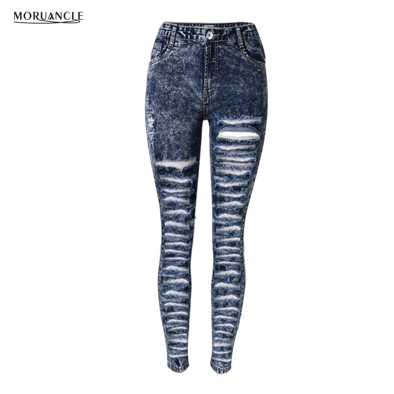 MORUANCLE Fashion Womens Hole Denim Jeans Snow Ripped Jeans Pants Skinny High Waisted Distressed Trousers For Female Size 34-44