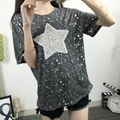 New Korean Style Star Embroidery Office Lady Summer T Shirt  Short Sleeve Loose Womens Sequin Tops 2016 Casual tee shirt femme