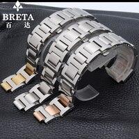 18mm (11mm jauge) haute qualité solide en acier inoxydable bracelet 20mm (12mm) 14*8mm BALLON BLEU DE convexe interface Papillon