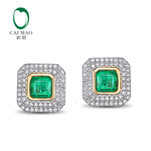 CaiMao 1.84ct Natural Emerald 18KT/750 White and Yellow Gold 0.51ct Round Cut Diamond Earrings Jewelry Gemstone