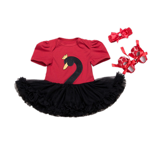 Infant Clothing Sets Short Sleeves Newborn Baby Girl Embroidered Swan Romper Tutu Dress+Headband+Shoes Baby Shower Gifts 2017