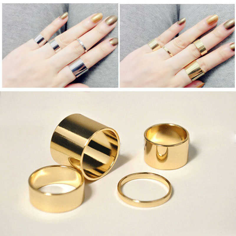 4 Pics/set Gold/Silver Simple Design Thin Rings Midi Mid Finger ...