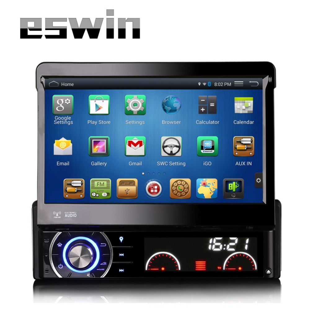 1din car radio dvd player with usb ports gps bluetooth android entertainment system detachable panel 7