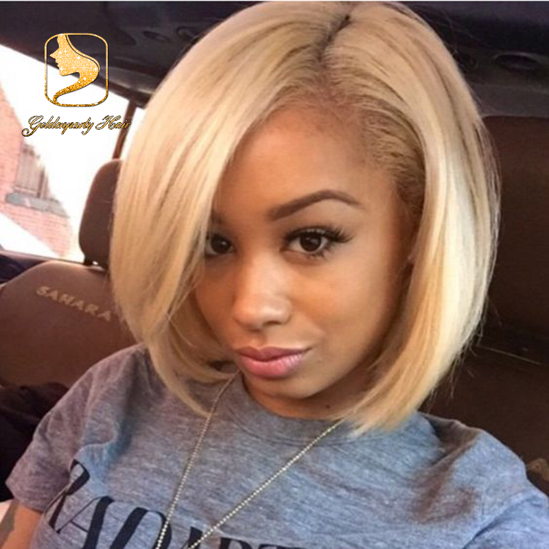 Chinese Blonde Bob Straight Lace Front Wigs For Black
