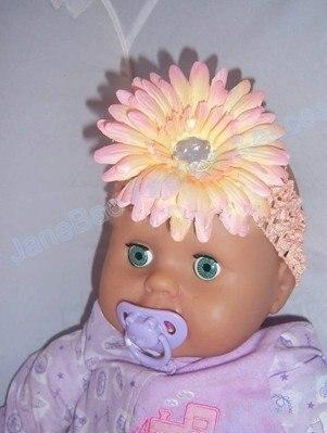 200 шт. 1.5 дюймов Гербера крючком группы девушки 4 ''ромашка волос бант клип цветок оголовье быстро доставляем
