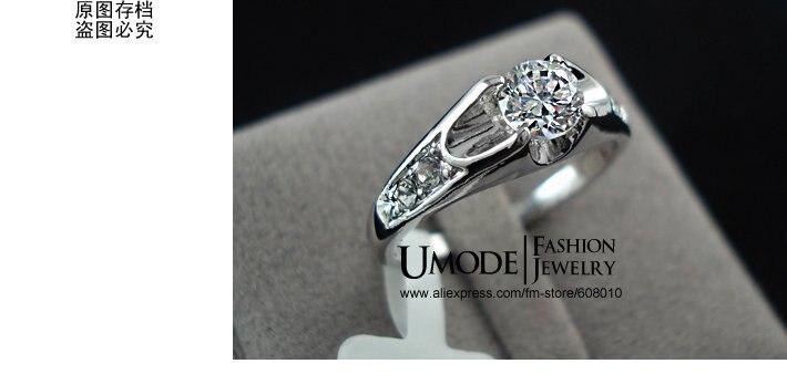 UMODE Модные обручальные кольца с покрытием из белого золота и фианитом 0,5к JR0064B