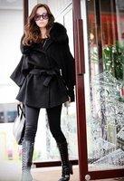 бесплатная доставка черный женская одежда натурального меха фокс воротник длинное пальто куртка lm1245