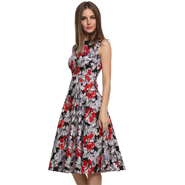 ACEVOG Women Dress Retro Vintage 1950s 60s Rockabilly Floral Swing Summer Dresses Elegant Bow-knot Tunic Vestidos Robe Oversize 20